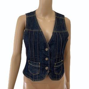 JEANSWEST   Y2K cropped denim waistcoat